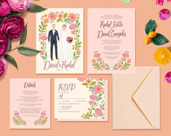 Custom Illustrated Couple Portrait Wedding Invitation Suite - Printable DIY -  Digital Files only