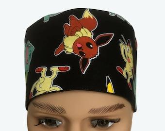 Unisex Scrub Cap - Pokémon scrub cap- Kids Scrub Hat - Pikachu & Character scrub hat - Character scrub hat - Kid's design scrub hat