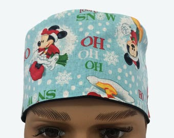 Unisex Scrub Cap - Disney Mickey and Friends Holiday scrub cap-Christmas Scrub Hats -Surgeons Scrub Cap-Doctors Gift - short hair scrub caps