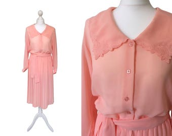 Vintage St Michael Dress | Marks And Spencer - Semi Sheer Georgette - 1970s 1980s - Peach Dress - Worldwide Shipping