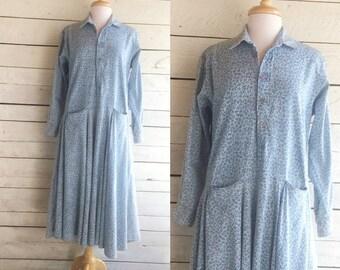 Blue Cotton Loose Drop Waist Dress - Long Sleeves - Floral Print - Pockets