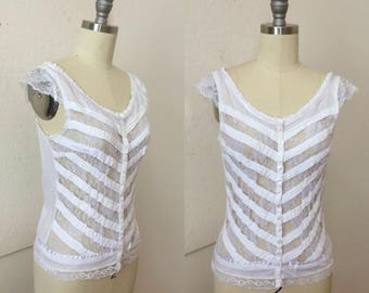 white cotton and lace tank top - button front - lavender satin trim - small - scoop neck - lace cap sleeves
