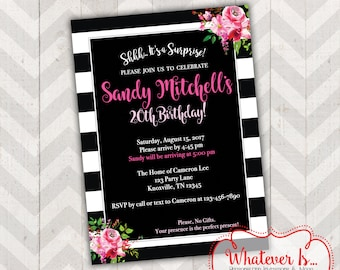 Black, White and Pink Birthday Invitation
