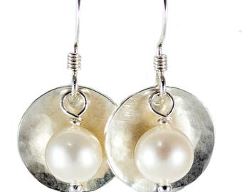 1/2 inch Bead & Disc Sterling Silver Earrings
