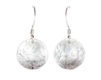 Domed Earrings - 1/2 inch - Silver Circle Earrings - Disc Earrings - Dangle Earrings - Dainty Earrings - Boho Earrings - Silver Earrings