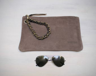 leather clutch bag, camel suede clutch, wristlets clutch, purse with wristlet chain