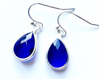 Cobalt blue glass earrings - blue faceted glass earrings, glass drop earrings, sparkle earrings
