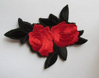 Red Rose Iron on or sew on Patch small