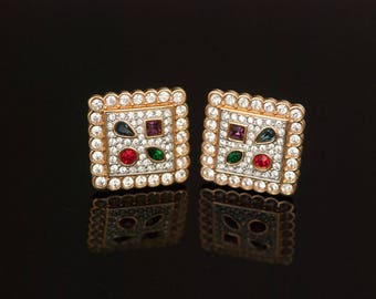 Swarovski Earrings Square Rhinestone Pave Ear Clips 22K Gold Plating  Minty!
