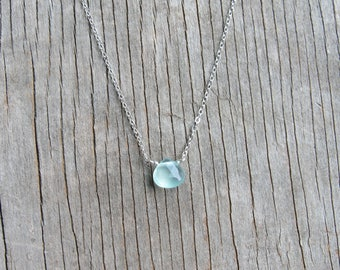petite AQUA CHALCEDONY necklace, Gemstone Necklace, Sterling silver, gold filled, rose gold filled,Briolette Necklace