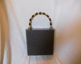 Cigarbox Purse, Embossed Espresso Color Ostrich Leather, Tina Marie Purse, Dark Brown/Black