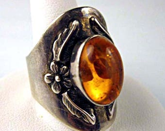 Amber Sterling Floral Ring, Wide Silver Band Large Flower and Leaf Art Nouveau Design, Oval Domed Bezeled Cabstone