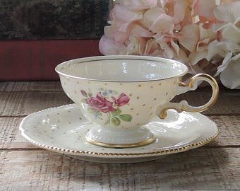 Castleton Martha Washington Tea Cup and Saucer Set Vintage Cottage Style Tea Party Bridesmaid Luncheon