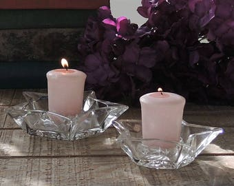 Vintage Star Shape Clear Glass Votive Candle Holders Set of 2 Cut Glass Wedding Decor Christmas Holiday Decor