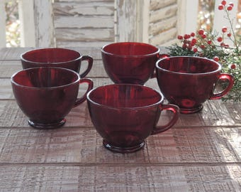 Anchor Hocking Royal Ruby Glass Tea Cups Set of 5 Coffee Cups Punch Cups