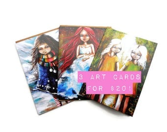 Illustrated art card, greeting card, thanks greeting card, handmade card, stationary, sarahdonnell