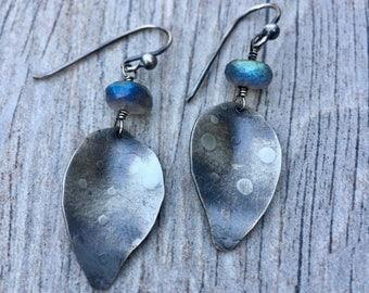 Silver Leaf Earrings with Labradorite - Leaf Labradorite Earrings - Labradorite Earrings - Leaf Jewelry
