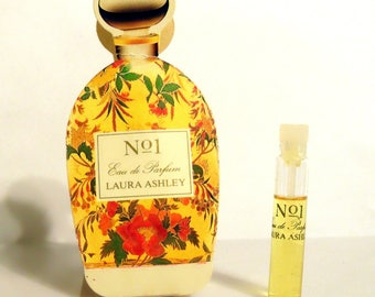 Vintage 1980s No. 1 by Laura Ashley 0.07 oz Eau de Parfum Sample Vial on Card PERFUME