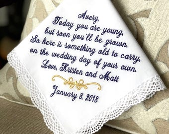 Wedding Hankies  Hankerchiefs Personalized Hankies Flower Girl  Handkerchief Embroidered  Monogrammed  Flower Girl - Today you are Young