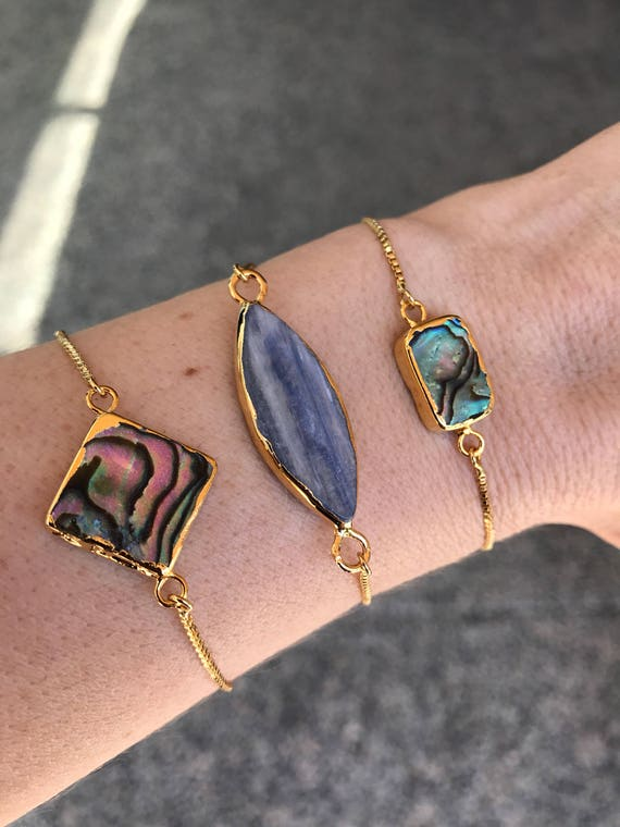 Abalone Bracelets anf Kyanite Adjustable Bracelets