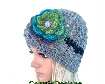 Ooak Unique designer womens teens hand crocheted knitted beanie hat rainbow multicolour flower hippie handmade irish winter fall grey lace