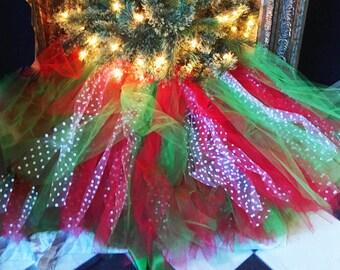Christmas Tree Skirt Tutu Red Green White Dots