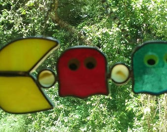 Stained Glass Pac - Man Suncatcher