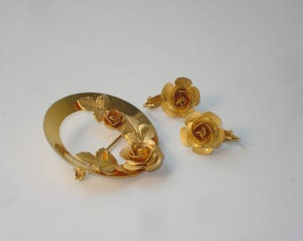 Vintage Bond Boyd Gold Rose Brooch and Earrings -  Costume Jewelry 1960s