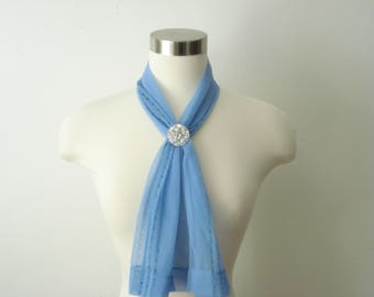 Vintage Long Blue Scarf - Sheer Hair Scarves - Womens Dusty Blue  Accessories 1970s