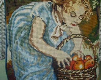 Vintage Wool Needlepoint Throw Pillow, Hand Made, Occasional Pillow, Little Girl Picking Apples, Velvet Backed