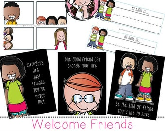 Welcome Friends clip art and printable set