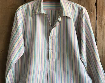 French Cotton Night Shirt, Grandad Shirt Smock, Pastel Candy Stripe, French Farmhouse, Country Chic