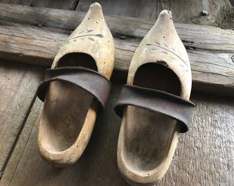 French Folk Art Clogs, Antique Artisan Wood Leather Childrens Clogs