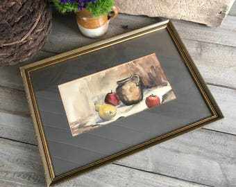 Original Framed Watercolor Painting, Still Life Fruit and Pitcher, Signed Artwork by Pharis Riedmiller