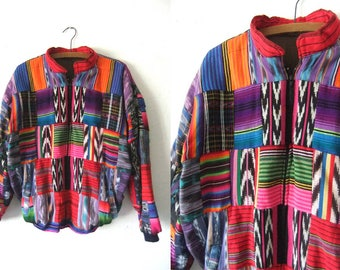 Patchwork Ikat Bomber Jacket - Guatemalan Style Tribal Pattern Quilted Jacket - 90s Hip Hop Style Tapestry Jacket - Mens Medium