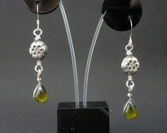 Natural Gemstone Peridot Olive Green Teardrop Dangle Earrings, Peridot Cabochon Earrings, 925 Bali Sterling Silver, August Birthstone