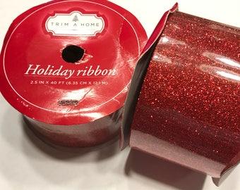 40 feet of red glitter ribbon, 2 1/2 inch wide (LR4)