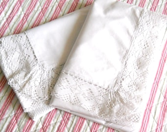 pair of antique french pillowcases antique pillow sham vintage french pillow case vintage bedding white lace pillow cover