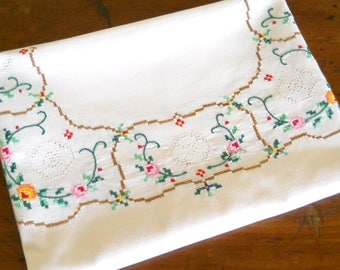 embroidered tablecloth cross stitch tablecloth vintage off white tablecloth floral tablecloth multicolor flowers