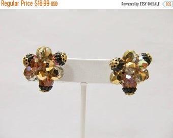 ON SALE VENDOME Golden Beaded Cluster Earrings Item K # 529