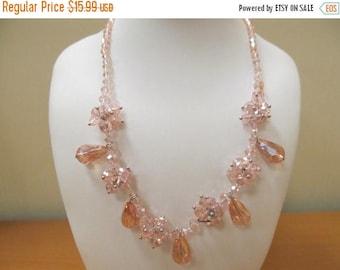 ON SALE Vintage Pale Pink Aurora Borealis and Crystals Drop Necklace Item K # 127