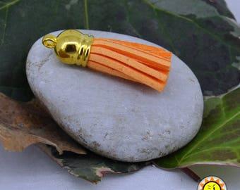 tassel orange suede gold charms support 3.7 cm