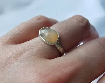 Rose Cut Peach Moonstone Ring. Size 8, Ready to Ship. Tarnish Resistant Argentium Sterling Silver. 935 silver. Shipping Included.