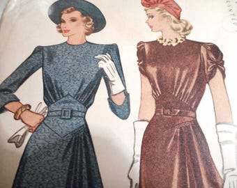 Vintage 1940's McCall 3869 Dress Sewing Pattern, Size 18 Bust 36