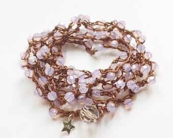 Violet opal Swarovski crystal bead crochet  mala meditation necklace / yoga wrap bracelet