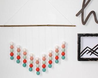 Orange Blue and White Wall Hanging, Felt Ball Hanging, Wall Decor, Spring Decor, Boho Wall Decor, Wall Hangings, Felt Balls, Wall Décor
