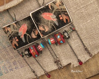 Bohemian pendant earrings Japanese art-vintage look-bohemian spirit-Asian style-rustic style-parrot pendant-turquoise-red coral-ivory