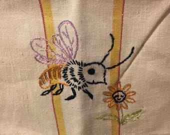 Intage linen towel hand embroidered bee and flower