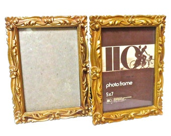 Art Nouveau 5x7 IIC Made in USA 1973 Frames Set of 2, Hollywood Regency