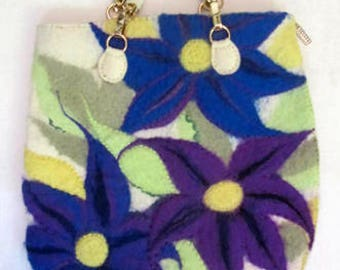 Large Extravagant Felted Bag Lilies Wool Handmade Gift